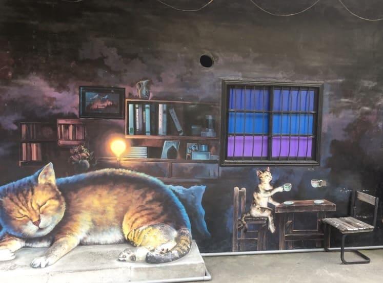 台湾のアートな村のインスタ映えする壁アート_猫村_1