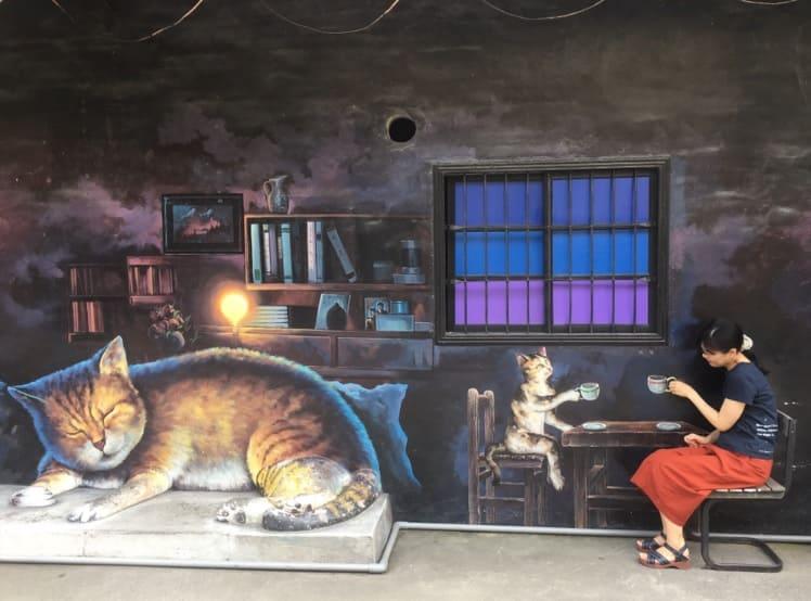 台湾のアートな村のインスタ映えする壁アート_猫村_2